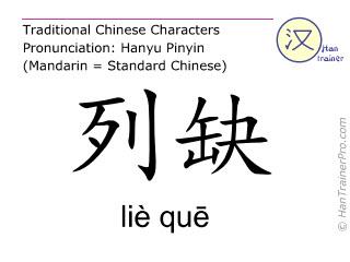 Chinesische Schriftzeichen  ( lie que / liè quē ) mit Aussprache (Deutsche Bedeutung: Lunge 7 )