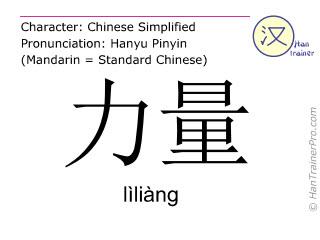 Chinesische Schriftzeichen  ( liliang / lìliàng ) mit Aussprache (Deutsche Bedeutung: Kraft )