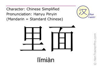 Caractère chinois  ( limian / lĭmiàn ) avec prononciation (traduction française: (de-)dans )