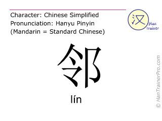 Caracteres chinos  ( lin / lín ) con pronunciación (traducción española: vecino )