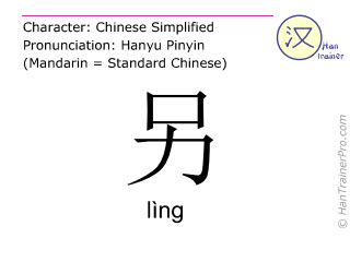 Chinese characters  ( ling / l&igrave;ng ) with pronunciation (English translation: <m>other</m> )