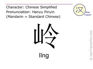 Chinesische Schriftzeichen  ( ling / lĭng ) mit Aussprache (Deutsche Bedeutung: <m>Grat</m> )