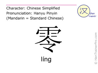 Chinese characters  ( ling / líng ) with pronunciation (English translation: zero )