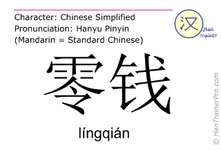 Chinese characters  ( lingqian / língqián ) with pronunciation (English translation: change )