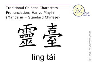 Chinesische Schriftzeichen  ( ling tai / líng tái ) mit Aussprache (Deutsche Bedeutung: Du Mai 10 )