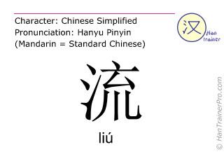 Caractère chinois  ( liu / liú ) avec prononciation (traduction française: couler )