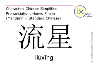 Chinese characters  ( liuxing / liúx&#299ng ) with pronunciation (English translation: shooting star )