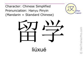 Caracteres chinos  ( liuxue / liúxué ) con pronunciación (traducción española: estudiar en el extranjero )