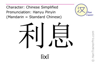 Chinese characters  ( lixi / lìxī ) with pronunciation (English translation: interest (money) )