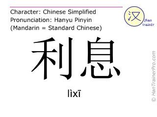Caracteres chinos  ( lixi / lìxī ) con pronunciación (traducción española: intereses (dinero) )