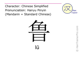Chinese characters  ( lu / l&#365; ) with pronunciation (English translation: <m>rash</m> )
