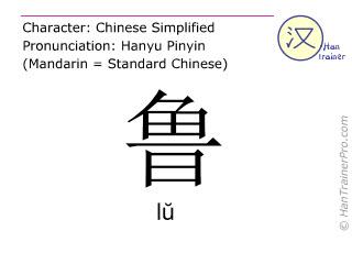 Caractère chinois  ( lu / lŭ ) avec prononciation (traduction française: grossier )