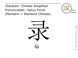 Chinese characters  ( lu / lù ) with pronunciation (English translation: to record )