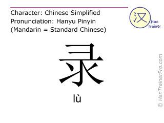 Chinesische Schriftzeichen  ( lu / lù ) mit Aussprache (Deutsche Bedeutung: aufzeichnen )