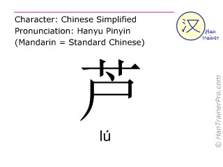 Chinese characters  ( lu / lú ) with pronunciation (English translation: reed )
