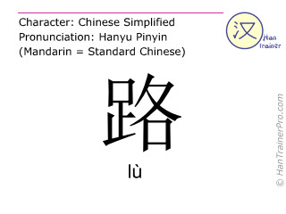 Chinese characters  ( lu / lù ) with pronunciation (English translation: road )