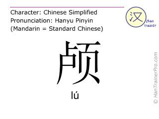 Chinesische Schriftzeichen  ( lu / lú ) mit Aussprache (Deutsche Bedeutung: Schädel )