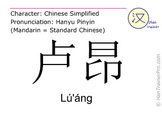 Chinese characters  ( Lu'ang / Lú'áng ) with pronunciation (English translation: Rouen )