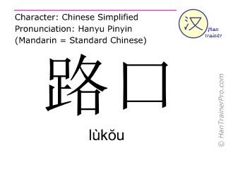 Chinese characters  ( lukou / lùkŏu ) with pronunciation (English translation: crossing )