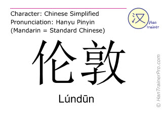 Chinese characters  ( Lundun / Lúnd&#363n ) with pronunciation (English translation: London )