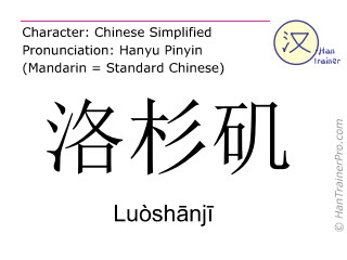 Chinese characters  ( Luoshanji / Luòshānjī ) with pronunciation (English translation: Los Angeles )