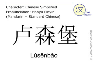 Chinese characters  ( Lusenbao / Lúsēnbăo ) with pronunciation (English translation: Luxembourg )