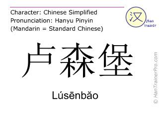 Chinesische Schriftzeichen  ( Lusenbao / Lúsēnbăo ) mit Aussprache (Deutsche Bedeutung: Luxemburg )