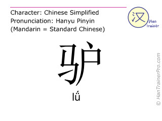 Chinese characters  ( lü / l&#472 ) with pronunciation (English translation: donkey )