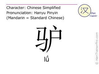 Caractère chinois  ( lü / lǘ ) avec prononciation (traduction française: âne )