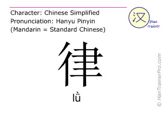 Chinese characters  ( l&uuml; / l&#476; ) with pronunciation (English translation: <m>law</m> )