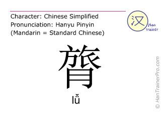 Chinese characters  ( lü / lǚ ) with pronunciation (English translation: strength )