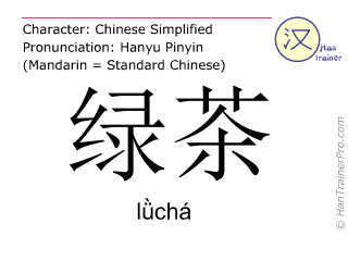 Chinese characters  ( lücha / lǜchá ) with pronunciation (English translation: green tea )