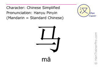 Chinese characters  ( ma / mă ) with pronunciation (English translation: horse )