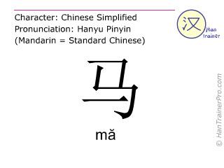 Caractère chinois  ( ma / mă ) avec prononciation (traduction française: cheval )