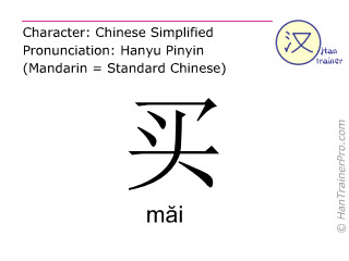 Chinese characters  ( mai / măi ) with pronunciation (English translation: to buy )