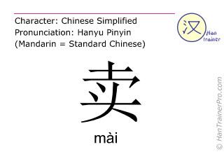 Chinesische Schriftzeichen  ( mai / mài ) mit Aussprache (Deutsche Bedeutung: verkaufen )