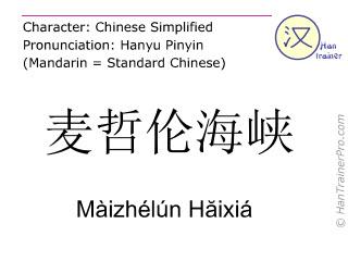 Caracteres chinos  ( Maizhelun Haixia / Màizhélún Hăixiá ) con pronunciación (traducción española: Estrecho de Megellan )