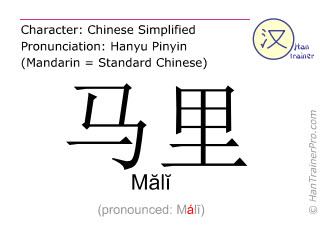 Caractère chinois  ( Mali / Mălĭ ) avec prononciation (traduction française: Mali )