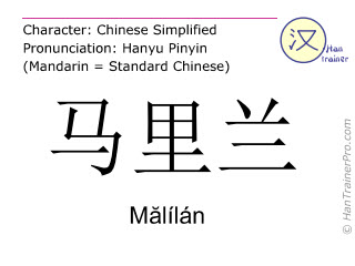 Chinese characters  ( Malilan / M&#259lílán ) with pronunciation (English translation: Maryland )
