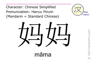Caracteres chinos  ( mama / māma ) con pronunciación (traducción española: madre )