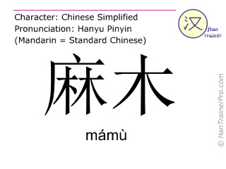 Chinese characters  ( mamu / mámù ) with pronunciation (English translation: numb )