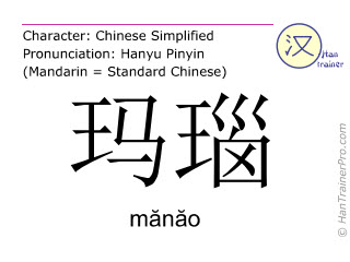 Chinese characters  ( manao / mănăo ) with pronunciation (English translation: agate )