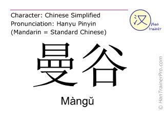 Caractère chinois  ( Mangu / Màngŭ ) avec prononciation (traduction française: Bangkok )