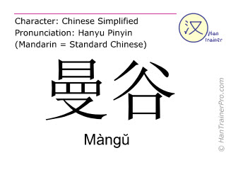 Chinese characters  ( Mangu / Màng&#365 ) with pronunciation (English translation: Bangkok )