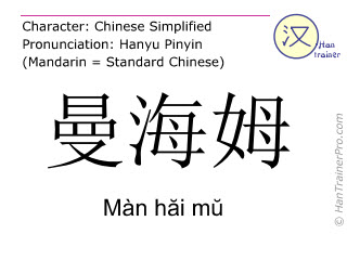 Chinese characters  ( Man hai mu / Màn hăi mŭ ) with pronunciation (English translation: Mannheim )