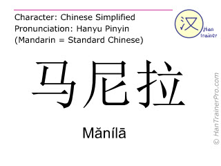 Chinesische Schriftzeichen  ( Manila / Mănílā ) mit Aussprache (Deutsche Bedeutung: Manila )