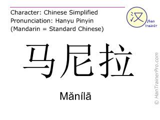 Chinese characters  ( Manila / Mănílā ) with pronunciation (English translation: Manila )