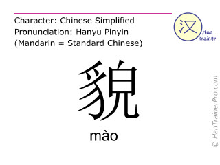 Chinese characters  ( mao / mào ) with pronunciation (English translation: appearance )