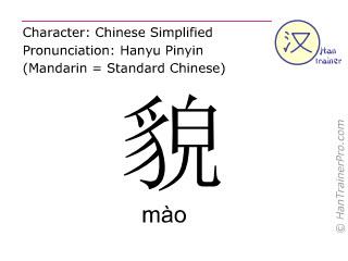 Chinesische Schriftzeichen  ( mao / mào ) mit Aussprache (Deutsche Bedeutung: äußeres Erscheinungsbild )