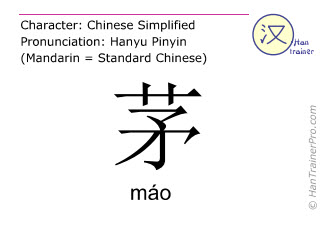 Chinese characters  ( mao / máo ) with pronunciation (English translation: thatch )